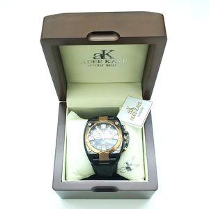 Adee Kaye Black Goldtone Chronograph Watch